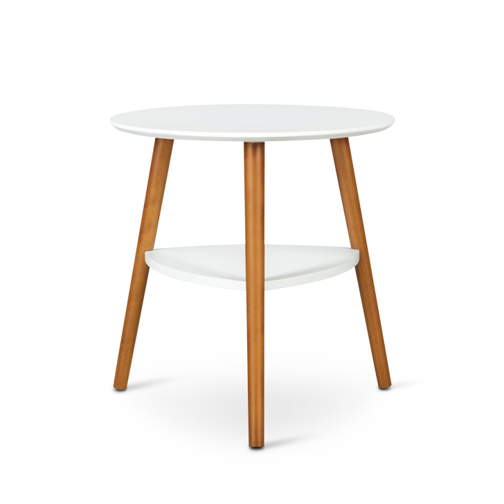 Aster Engineered Wood End Table in White + Walnut Colour by HomeTown