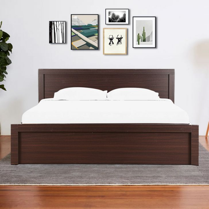 Dazzle Engineered Wood Queen bed without storage in Walnut Colour by HomeTown