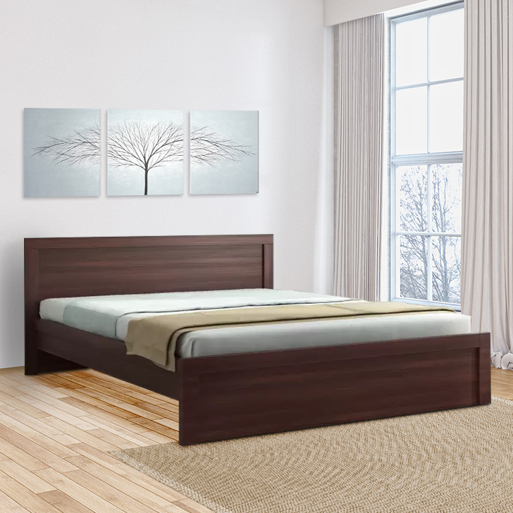 Dazzle Engineered Wood Queen Size Bed in Walnut Colour by HomeTown