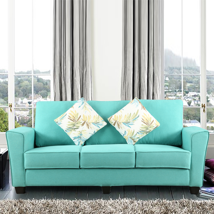 Rogers Fabric Three Seater sofa in Teal Colour by HomeTown