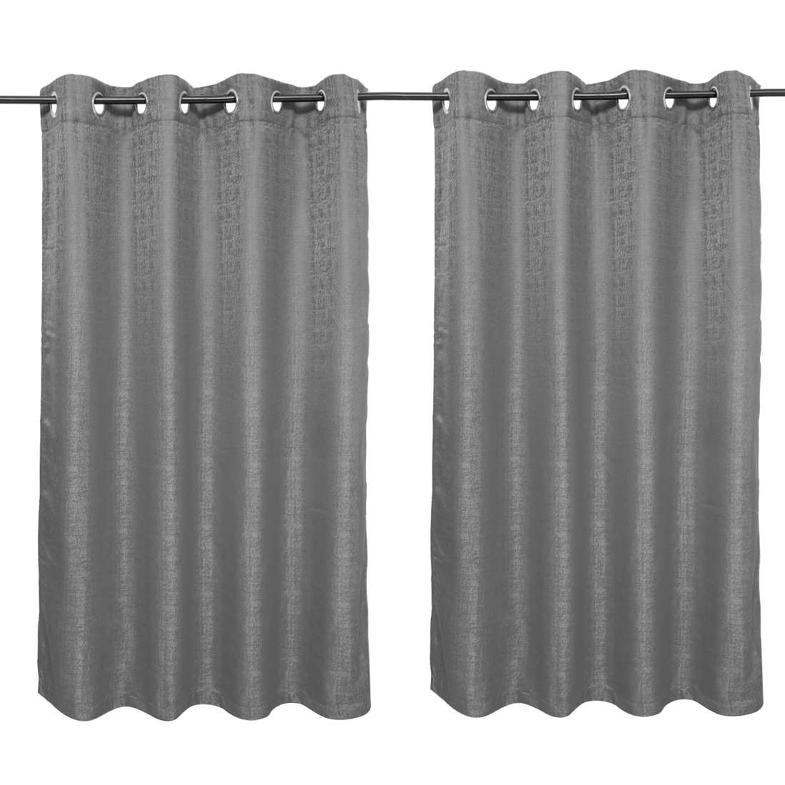 Nora Solid set of 2 Polyester Window Curtains in Charcoal Colour by Living Essence
