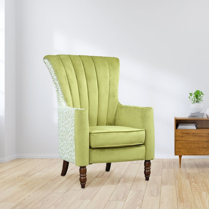 Collin Solid Wood Arm Chair in Green Colour by HomeTown