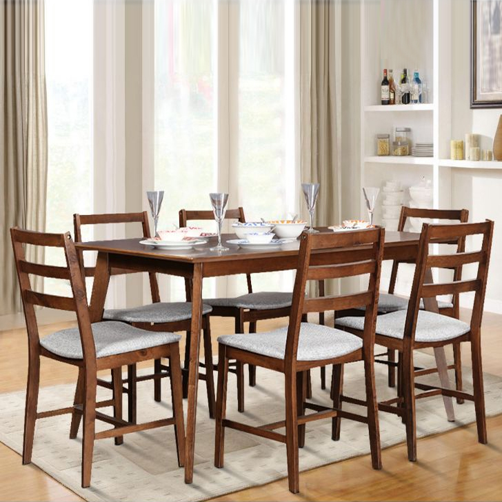Zina Engineered Wood Six Seater Dining Set in Light Walnut Colour by HomeTown