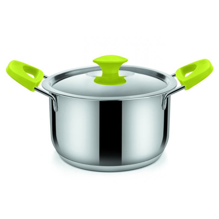 oven rnd w steel lid 2600 ML grn Stainless Steel With Silicone Sauce Pans in Green Colour by Bonita