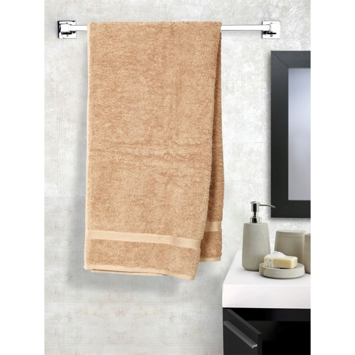 Solid PC Poly Blend Bath Towels in Beige Colour by Dreamline