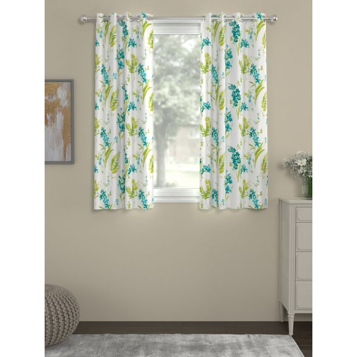 Digi Print Window Curtain In Blue Color By Rosara Home