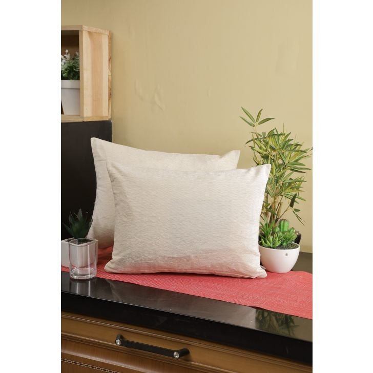 Emilia Set Of 2 Polyester Cushion Cover 40 Cm x 30 Cm in Off White Colour