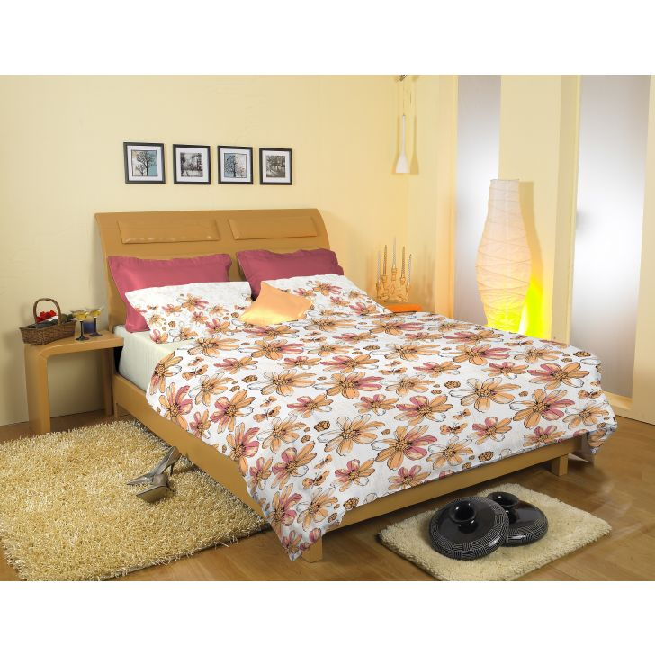 Striped Printed Cotton Double Bedsheet in Pink Colour by Easy Life