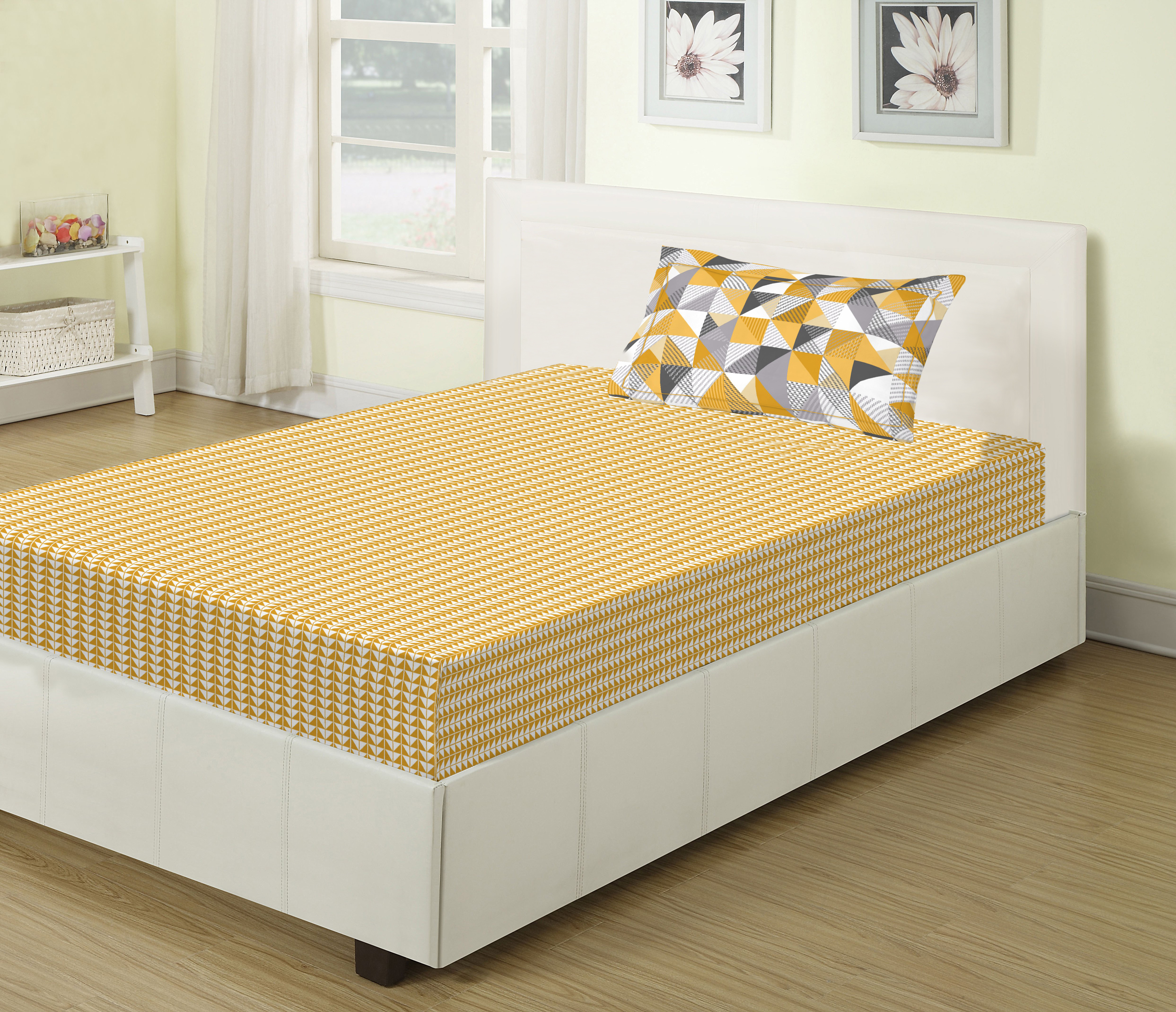 Emilia Cotton Single Bed Sheets in Gold Colour by Living Essence