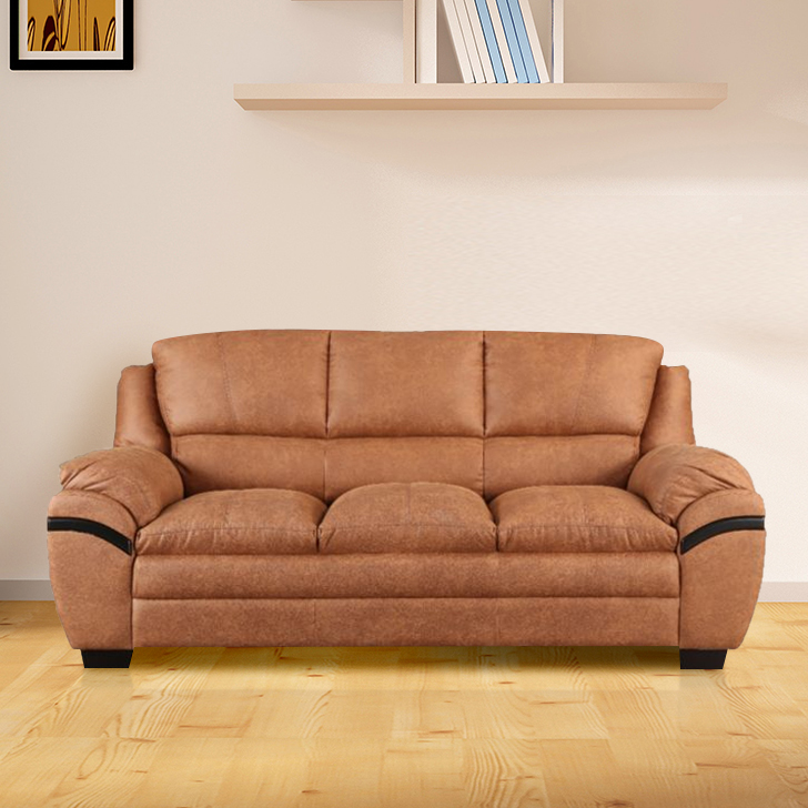 Eleanor Fabric Three Seater sofa in Tan Colour by HomeTown