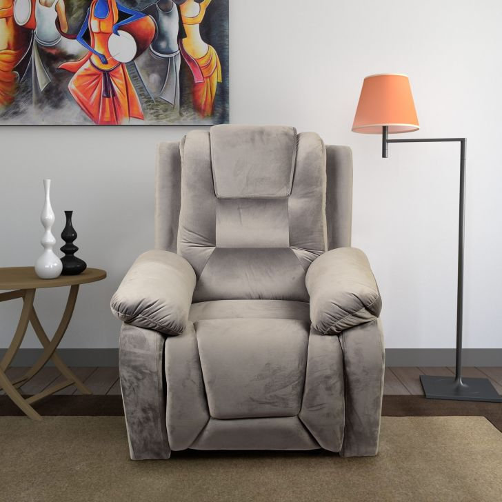 Mozilla Fabric Single Seater Rotating Recliner in Light Grey Colour