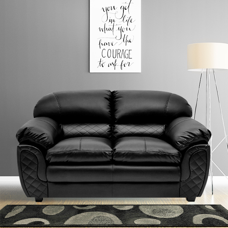 Mirage Leather Fabric Two Seater Sofa in Black Colour by HomeTown