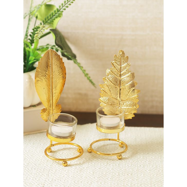 Jackson Pinn Metal Candle Holder Set of 2 in Gold Colour