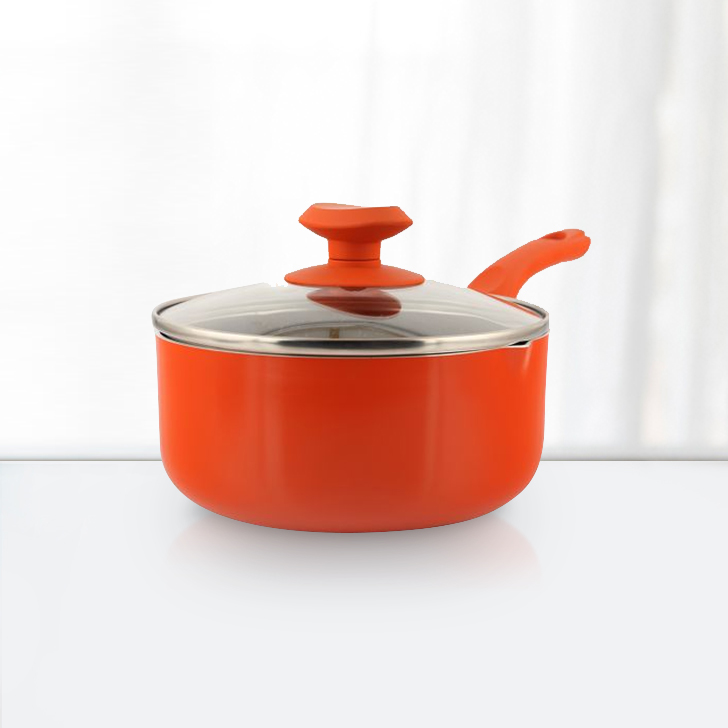 Granite Sauce Pan 18Cm With Lid Orange Pressed Alluminium Sauce Pans in Lime Colour by Living Essence