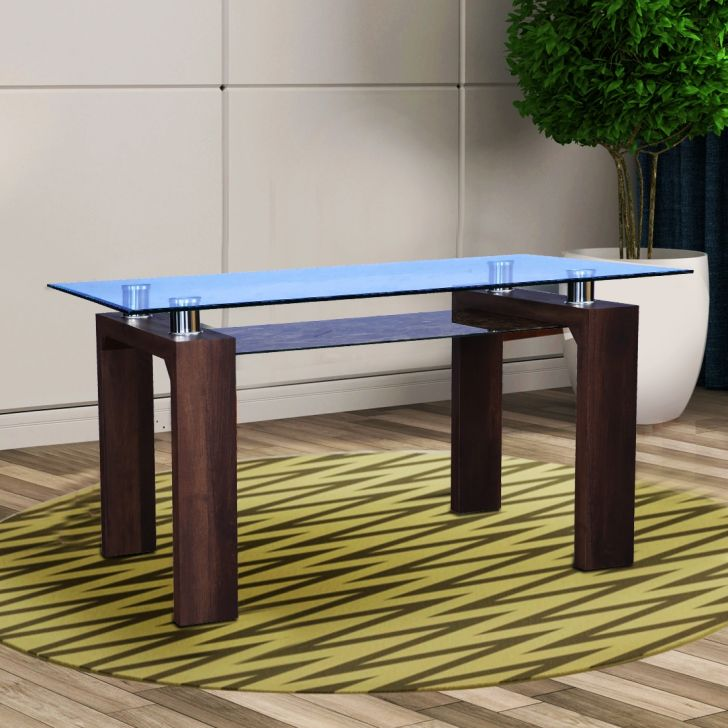 Garfield Glass Top 4 Seater Dining Table in Brown Colour by HomeTown