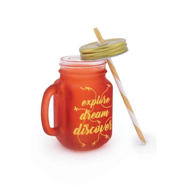 Love To Travel Golden Tangello Mason Jar Glass Mason Jars in Orange Colour by Living Essence
