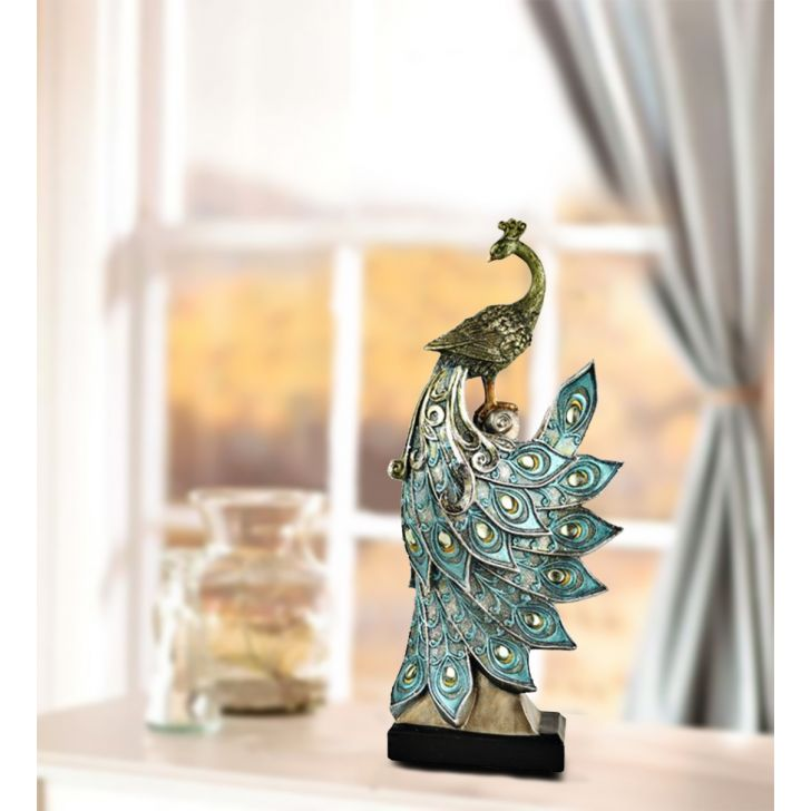 Peacock on stand Polyresin Figurines in Blue Colour by Living Essence