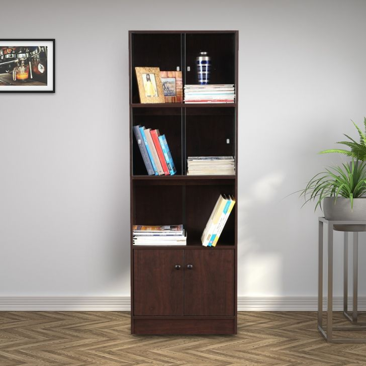Lara Engineered Wood Medium Book Shelf in Wenge Colour by HomeTown