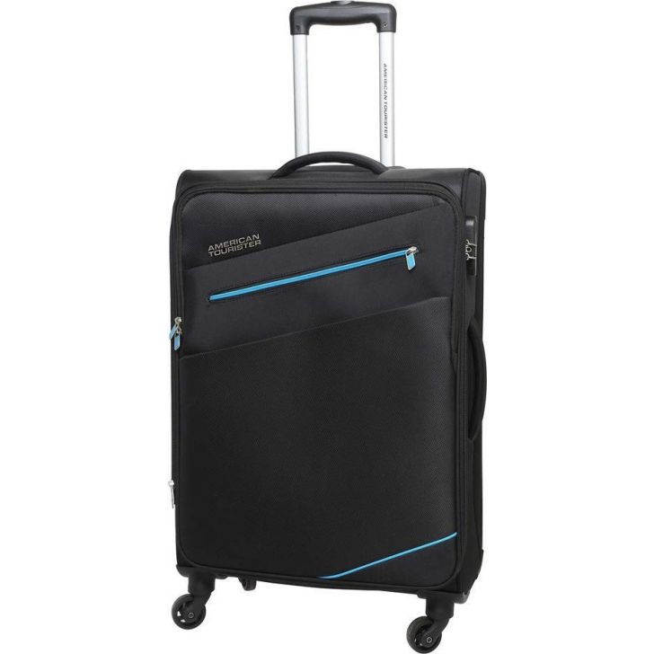 Fiji 58 cm Polyester Soft Trolley in Black Colour by AMERICAN TOURISTER