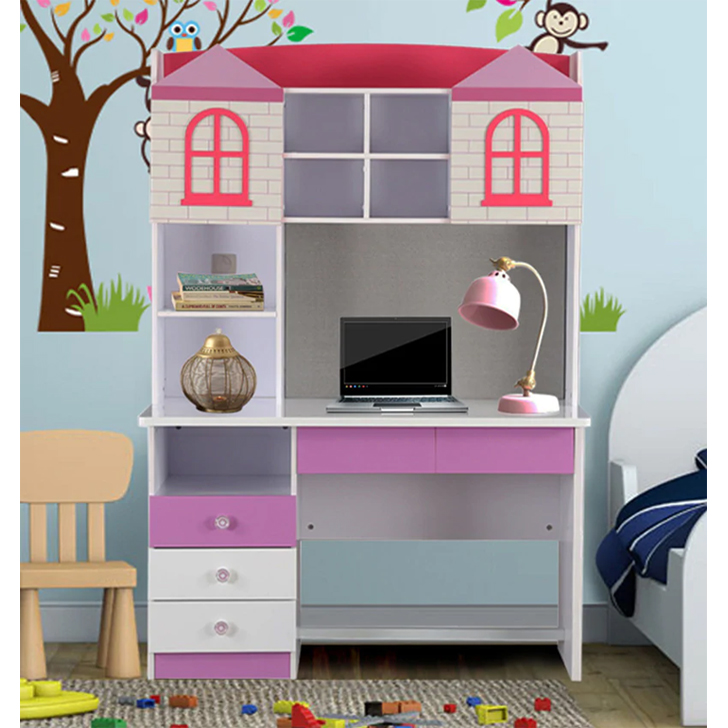 Castle Engineered Wood Study Table in Highgloss White & Pink Colour by HomeTown