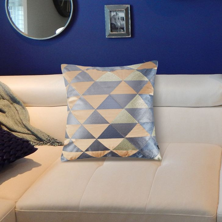 Modern Triangle Velvet Cushion Covers in Grey Colour by Living Essence