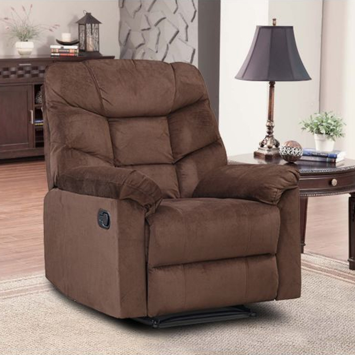 Caesar Fabric Single Seater Recliner in Brown Colour by HomeTown