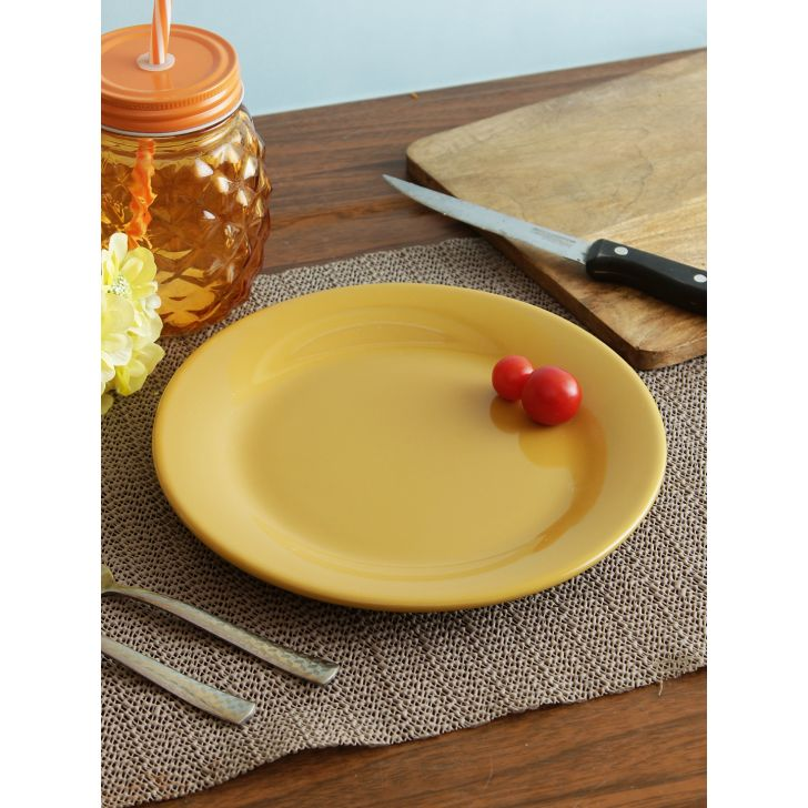 Ceramic Quarter Plate 21 Cm in Mustard Colour by Living Essence