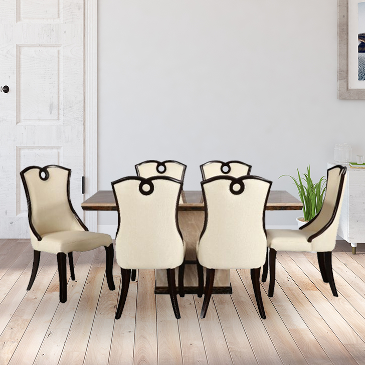 Morwin Marble Six Seater Dining Set in Beige Colour by HomeTown
