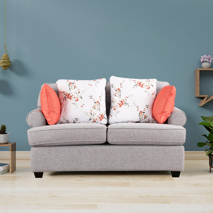 Cadence Fabric Two Seater Sofa in Grey & Red Colour by HomeTown