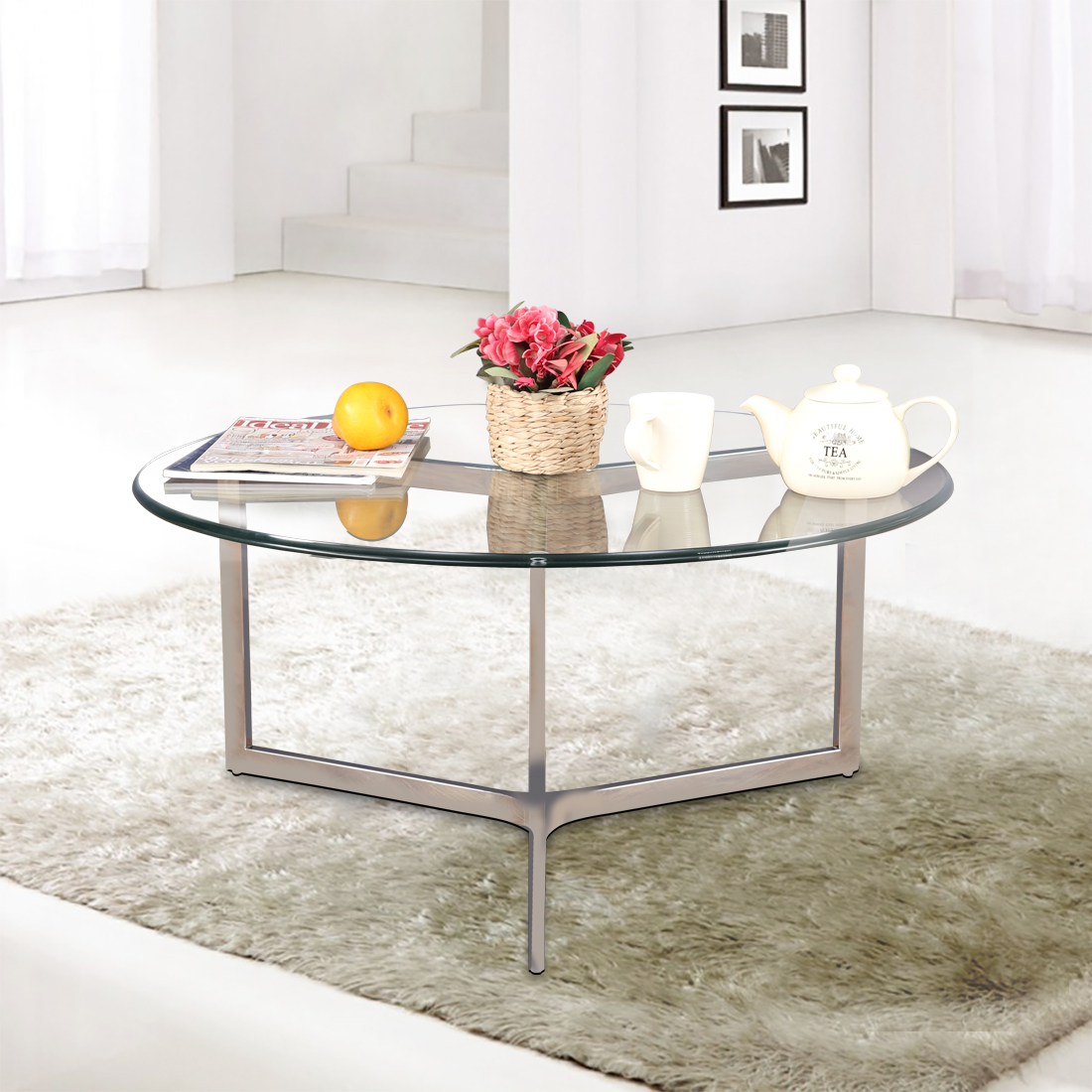 Benz Stainless steel Glass Top Center Table in Transparent Colour by HomeTown