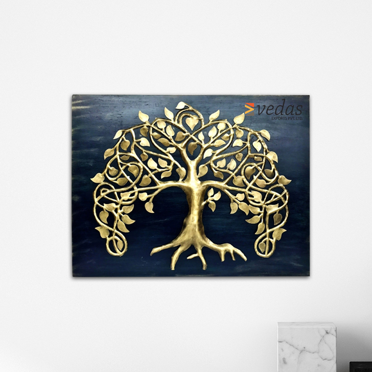 European Tree Wall Frame Iron Large Wall Accents in Gold And Blue Colour by Royce