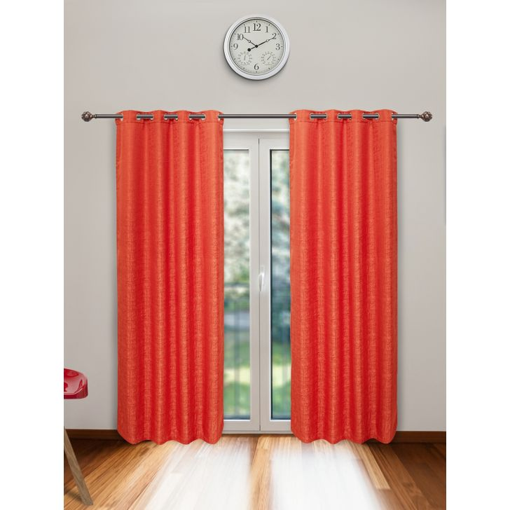 Nora Set of 2 Polyester Door Curtains in Rust Colour by Living Essence