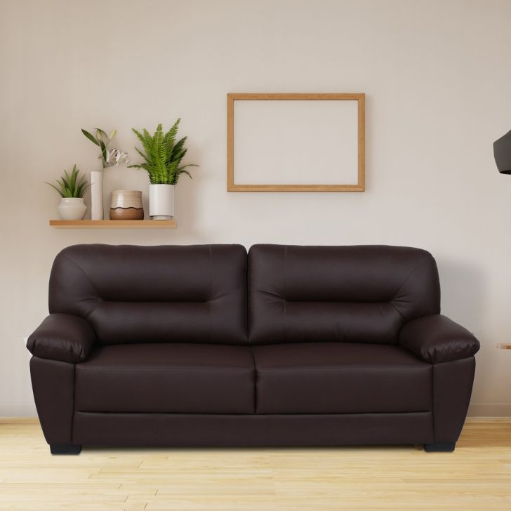 Vista Solid Wood Three Seater Sofa in Brown Colour by HomeTown