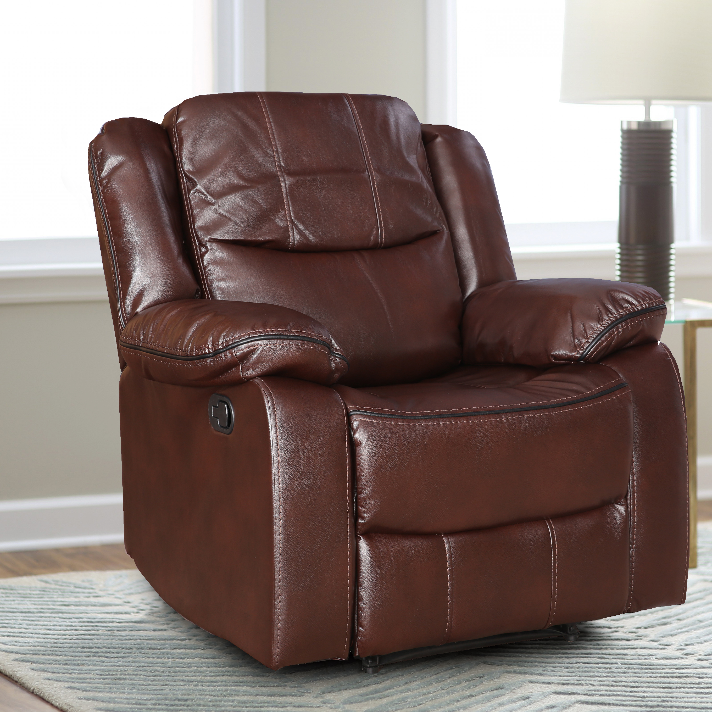 Hugo Fabric Single Seater Recliner in Brown Colour by HomeTown