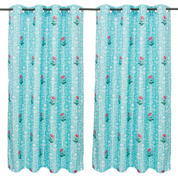 Nora Printed set of 2 Polyester Window Curtains in Turquoise Colour by Living Essence