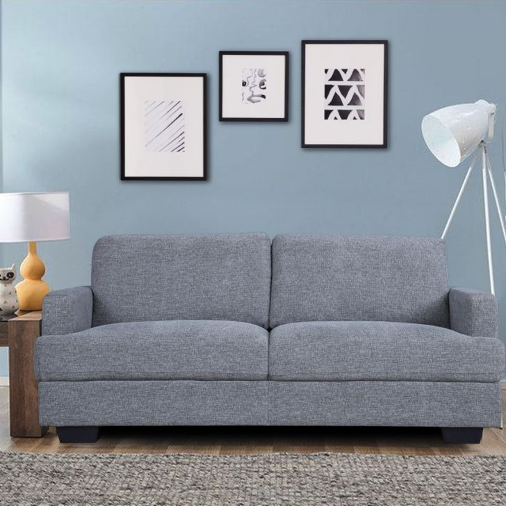 Marley Solid Wood Three Seater Sofa in Grey Colour by HomeTown