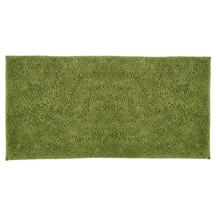 Bath Runner Nora Chenille Olive Chenille Bath Mats in Olive Colour by Living Essence