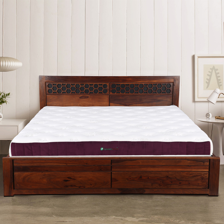Mattress Green Latex Natural Firm King Bed Mattress in White Colour by HomeTown