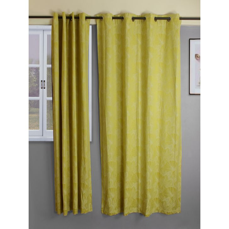 Set of 2 Fiesta Jacquard Polycotton Door Curtains in Citron Colour by Living Essence