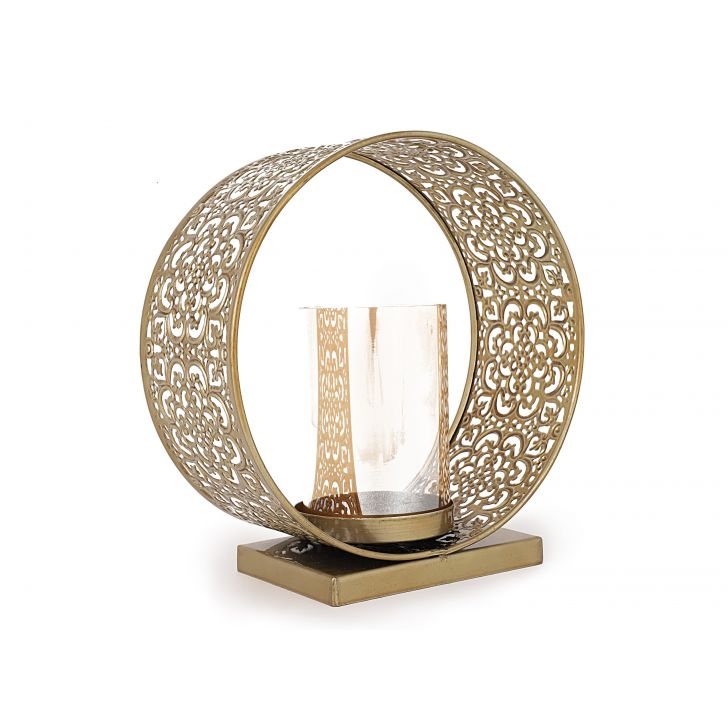 Shiraz Etch Ring Metal Candle Holders in Gold Colour by Living Essence