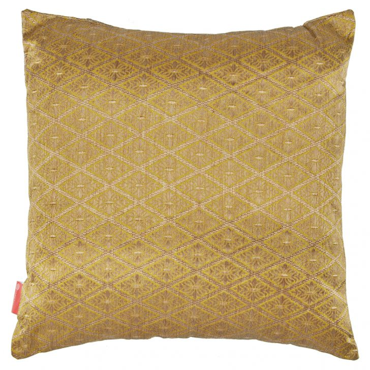 Filled Cushion Miraya Citron Beige Brocade Cushion Fillers in Brocade Colour by Living Essence