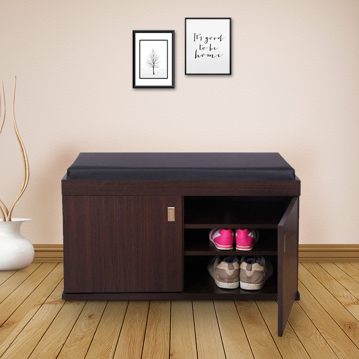 HomeTown Engineered Wood Shoe Rack in Wenge Colour by HomeTown