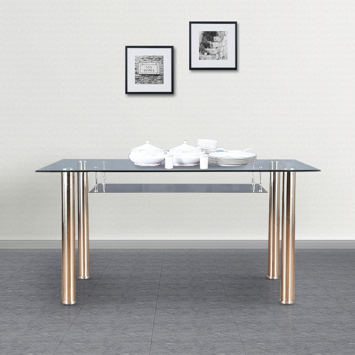 Vento Metal Six Seater Dining Table in Black Colour by HomeTown