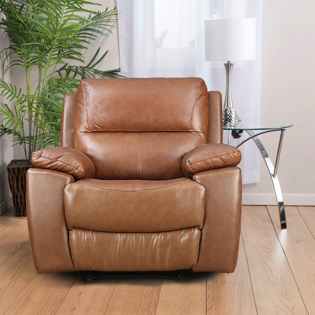 Lionel Half Leather Single Seater Recliner in Brown Colour by HomeTown