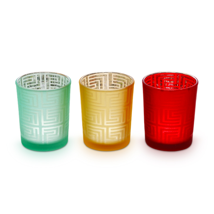 Zahara 3 Pc Glass Candle Holders in Assorted (Red, Yellow, Brown, Teal) Colour by HomeTown
