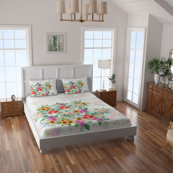 Spaces Capriano 210 Tc Cotton Multi Large Bedsheet With 2 Pillow Covers