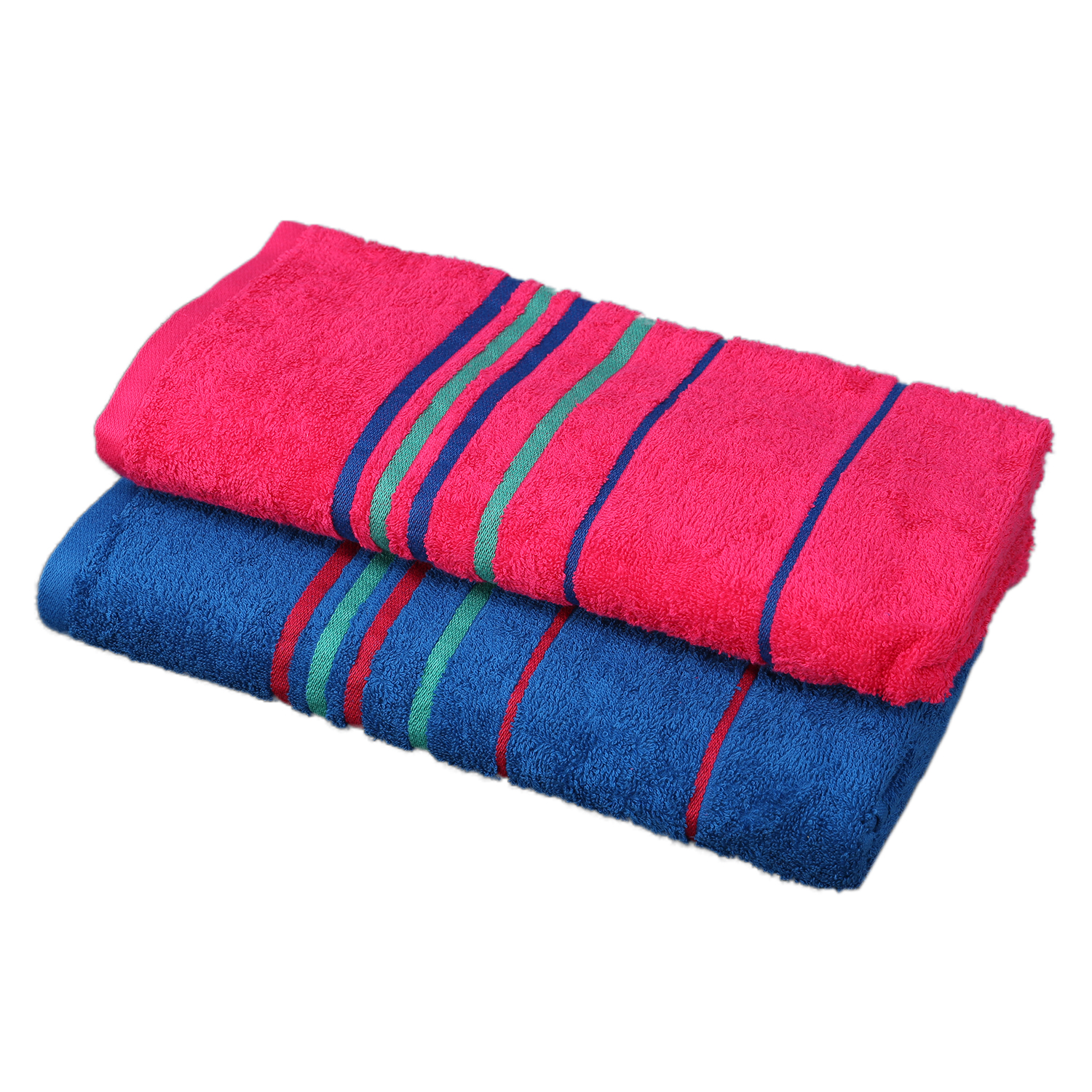 Emilia Bath Towel Blue & Fuchsia Carded Cotton Bath Towels in Blue & Fuchsia Colour by Living Essence