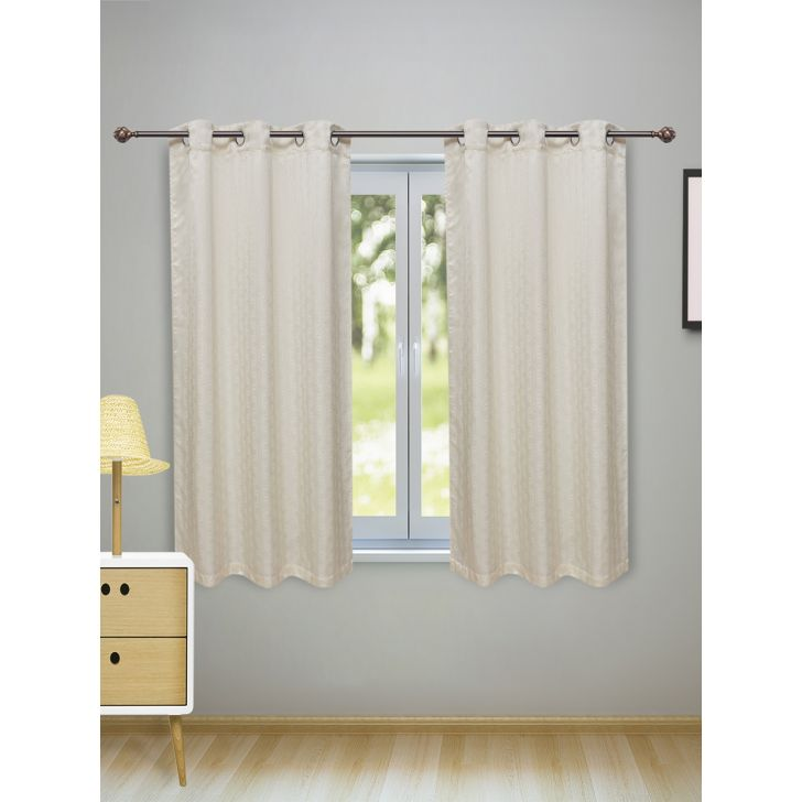 Fiesta Set of 2 Polyester Window Curtains in Off White Colour by Living Essence