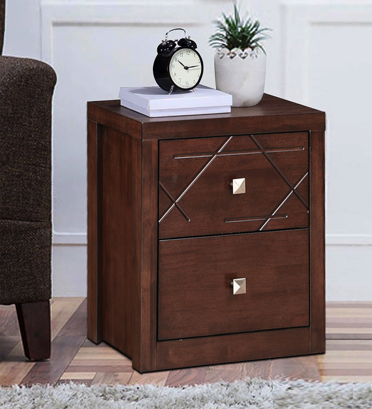 Starlight Engineered Wood Bedside Table in Walnut Colour by HomeTown