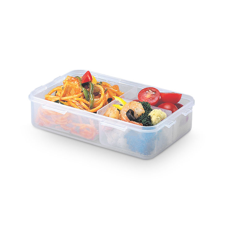 Lock & Lock Classics Rectangular Food Container With Divider 800 ml Polypropylene Containers in Transparent Colour by Lock & Lock